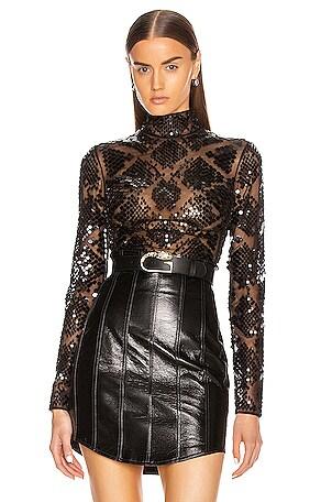 Plexi Embroidered Net Bodysuit