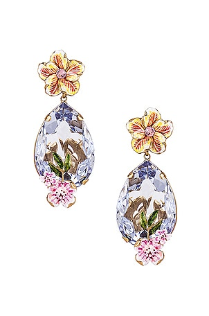 Flower & Crystal Earrings