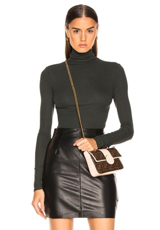 Rib Fitted Long Sleeve Turtleneck