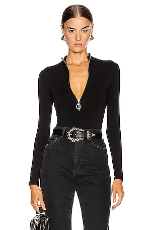 Italian Viscose Mock Neck Zip Bodysuit