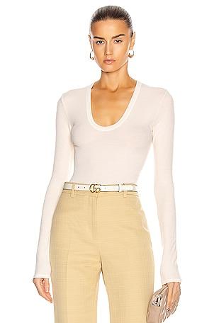 for FWRD Silk Rib Fitted Long Sleeve U Top