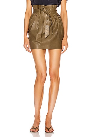 Paperbag Leather Skirt