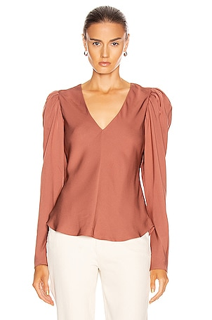 Shirred V Neck Top