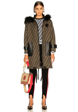 Fur Trim Logo Print Wool Coat