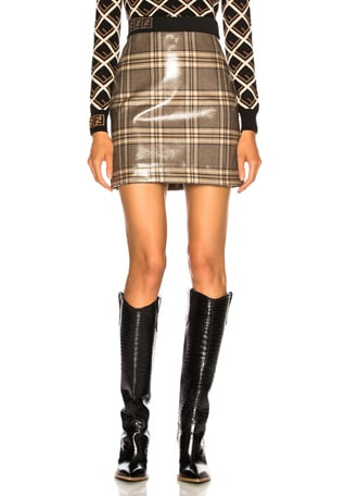 Glazed Prince of Wales Plaid Mini Skirt