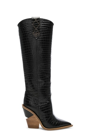 Cutwalk Croc Embossed Knee High Western Boots