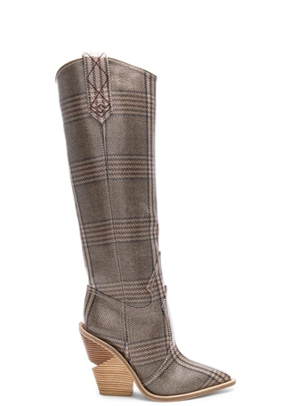 Cutwalk Check Knee High Western Boots