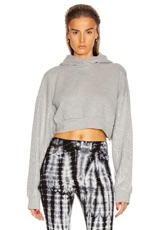 Kylie Crystal Sleeves Cropped Hoodie