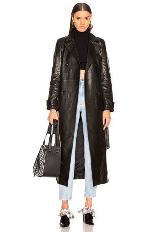 for FWRD Leather Trench Coat