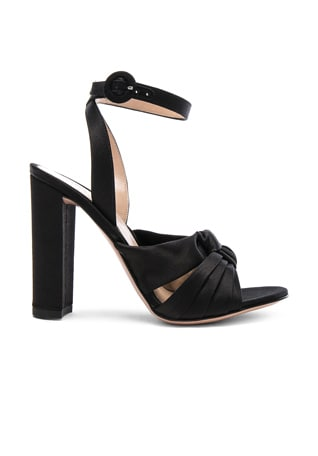 Satin Loren Knot Ankle Strap Heels