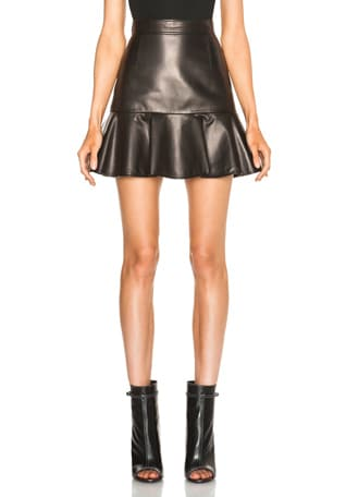 Leather High Waist Ruffle Mini Skirt
