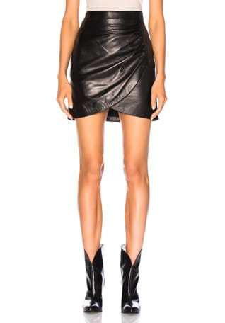 Wrap Leather Mini Skirt