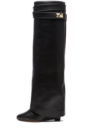 Shark Lock Calfskin Leather Wedge Knee Boots