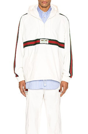 Cotton Canvas Windbreaker With Gucci Label