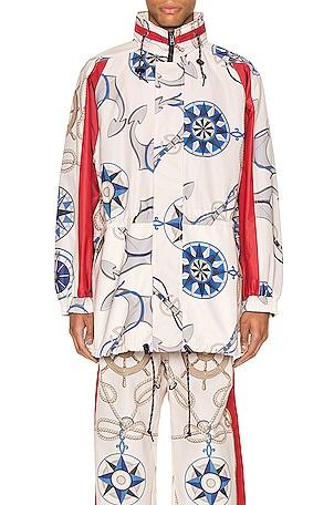 Nautical Print Nylon Jacket