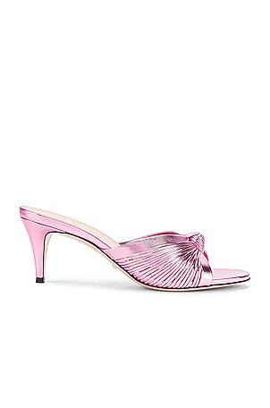 Metallic Leather Mid Heel Sandals