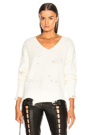 Distressed Longsleeve V Neck Sweater
