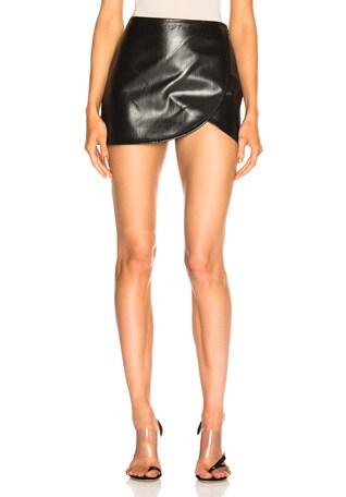 Leather Overlap Skirt