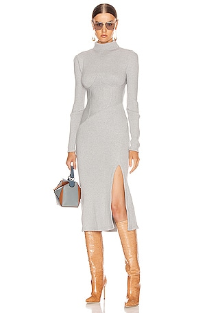 Directional Rib Turtleneck Slit Dress