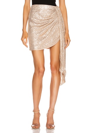 Sequin Mini Drape Front Skirt