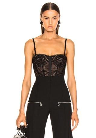 Mixed Lace Bustier Bodysuit