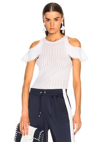 Lacy Crochet Cold Shoulder Top