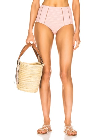 Lace Insert High Waisted Bikini Bottom