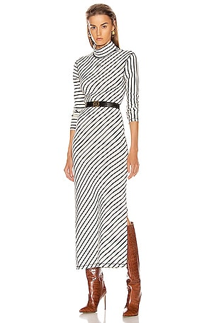 Stripe High Neck Jersey Dress