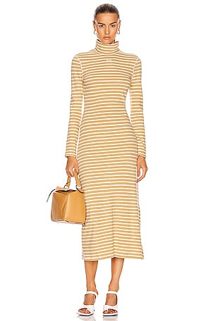 Stripe High Neck Jersey Dress