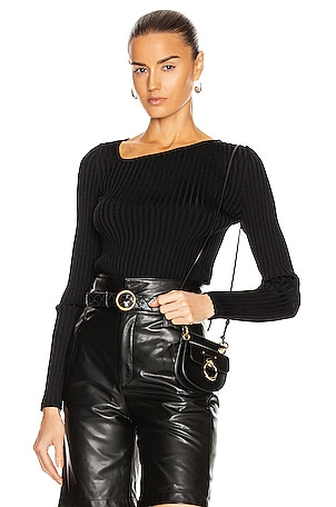 Ribbed Asymmetric Collar Sweater