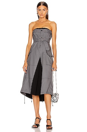 Houndstooth Strapless Midi Dress