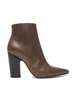 Brushed Effect Pointed Toe Leather Booties