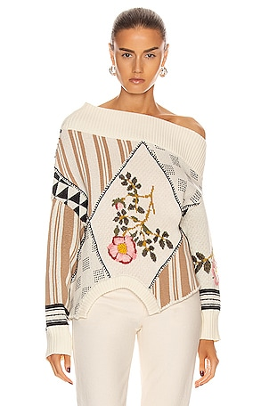 Upside Down Floral Patch Sweater