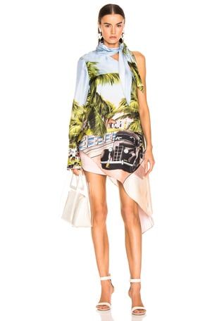 Scenic Print One Shoulder Top
