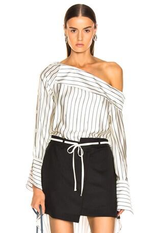 Off Shoulder Pinstripe Shirt