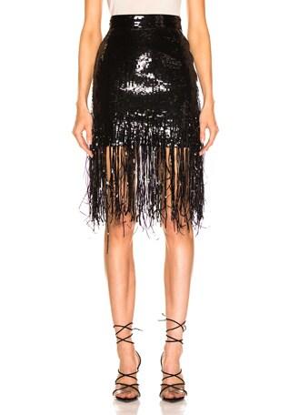Sequined Fringe Skirt