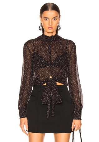 Ditsy Rose Tie Blouse
