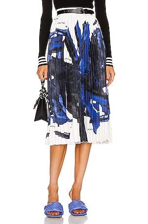 Blue Brush Stroke Plissé Skirt