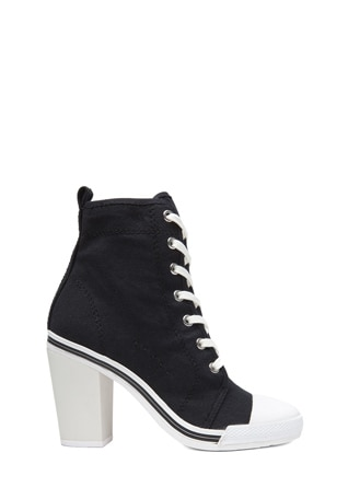 x DKNY High Heel Canvas Sneakers