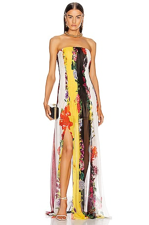 Strapless Floral Striped Gown