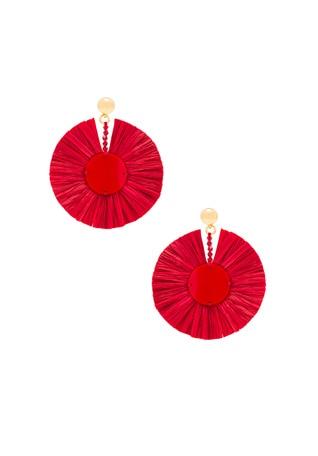 Small Raffia Disk Earrings