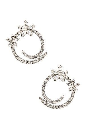 Pave Flower Crystal Hoop Earrings