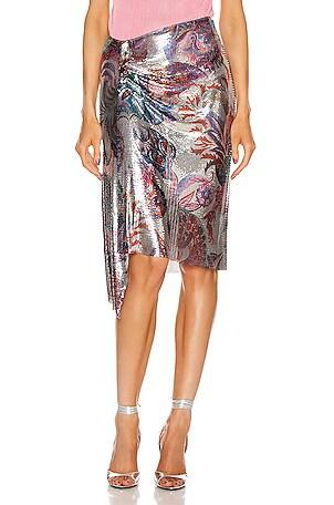 Metallic Print Wrap Skirt