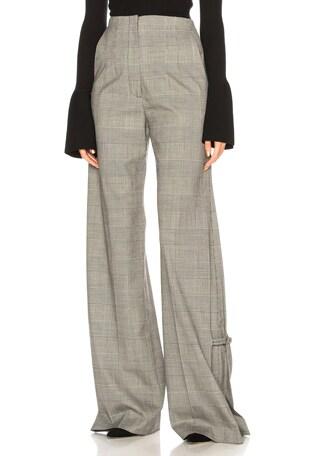 Plaid Wool Wide Leg Trousers
