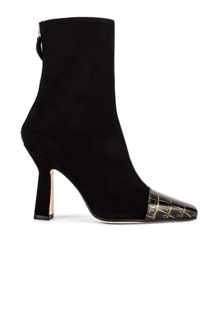 Suede and Croco Square Toe Ankle Boot