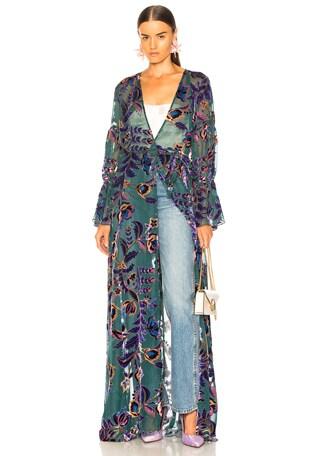 Burnout Velvet Maxi Wrap Dress