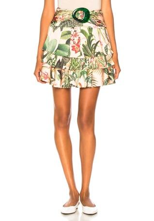 Paradise Print Ruffle Mini Skirt