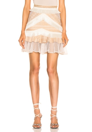 Mesh & Fringe Tiered Mini Skirt