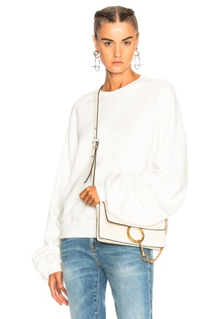 Pleated Sleeve Sweatshirt