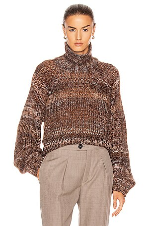 Fog Mohair Knit Gradient Turtleneck Sweater